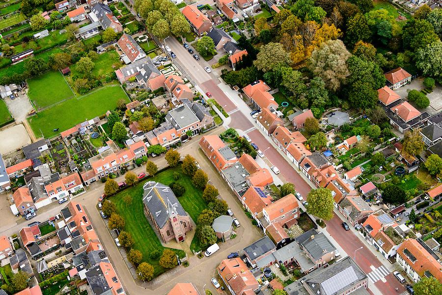 Nederland, Zeeland, Walcheren, 19-10-2014; Nieuw-en Sint Joosland (of Nieuwland ). Kerkplein met dorpskerk.<br /> Church Square with village church.<br /> <br /> luchtfoto (toeslag op standard tarieven);<br /> aerial photo (additional fee required);<br /> copyright foto/photo Siebe Swart
