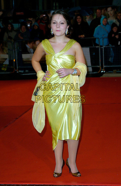 "JESSICA ASHWORTH.""Becoming Jane"" World Premiere, Odeon West End, .London, England, March 4th 2007..full length yellow satin dress wrap gold shoes.CAP/CAN.©Can Nguyen/Capital Pictures"