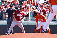 AUSTIN, TEXAS-March 6, 2011:   Ben Clowe of Stanford leads off first base during the game against the Texas Longhorns, at Disch-Falk field in Austin, Texas.  Texas defeated Stanford 4-2.