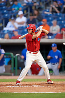Clearwater Threshers Adam Haseley (17) at bat during a game against the Dunedin Blue Jays on April 6, 2018 at Spectrum Field in Clearwater, Florida.  Clearwater defeated Dunedin 8-0.  (Mike Janes/Four Seam Images)