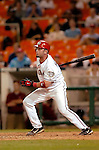 29 June 2005: Brian Schneider, catcher for the Washington Nationals, at bat during a game against the Pittsburgh Pirates. The Nationals rallied to defeat the Pirates 3-2 in a rain delayed game at RFK Stadium in Washington, DC.  Mandatory Photo Credit: Ed Wolfstein