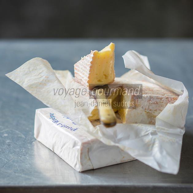 France, Calvados (14), Pays d' Auge,   AOP Pont-l'Évêque  // France, Calvados, Pays d' Auge,  PDO Pont-l'Évêque cheese