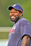 3 September 2008: Washington Nationals first baseman Dmitri Young, playing with the Vermont Lake Monsters during the final week of the New York-Penn League season, awaits his turn in the batting cage prior to a game against the Tri-City Valley Cats at Centennial Field in Burlington, Vermont. On a rehab assignment, Young was the first current Major League player to rehab with Vermont in its 15-year history. The Lake Monsters defeated the Valley Cats 6-5 in extra innings. Mandatory Photo Credit: Ed Wolfstein Photo