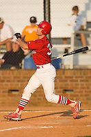 Robert Stock #35 of the Johnson City Cardinals follows through on his swing versus the Burlington Royals at Howard Johnson Stadium June 27, 2009 in Johnson City, Tennessee. (Photo by Brian Westerholt / Four Seam Images)