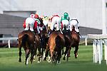 Jockeys compete the Audemars Piguet Queen Elizabeth II Cup horse race (2000m) at Sha Tin race course in Hong Kong on April 30, 2017 (Photo by Marcio Rodrigo Machado / Power Sport Images)