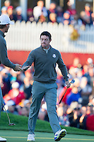 Rory McIlroy(Team Europe) on the 1st green during the Saturday morning Foursomes at the Ryder Cup, Hazeltine national Golf Club, Chaska, Minnesota, USA.  01/10/2016<br /> Picture: Golffile | Fran Caffrey<br /> <br /> <br /> All photo usage must carry mandatory copyright credit (&copy; Golffile | Fran Caffrey)