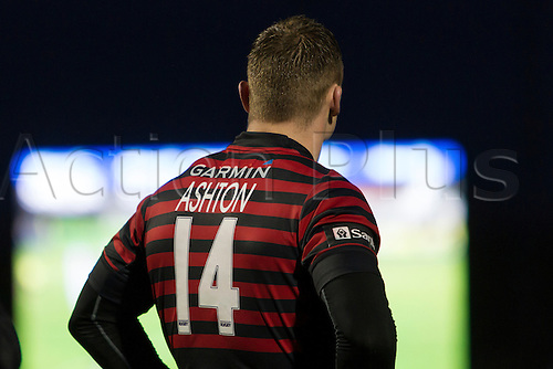 21.12.2013 London, England. Chris ASHTON (Saracens) watches the big screen to see if his final pass was forward during the Aviva Premiership game between Saracens and Leicester Tigers at Allianz Park.