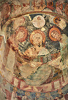 "picture & image of a fresco of Christ Pantocrator in the altar apse of the Samtavisi Georgian Orthodox Cathedral, 17th century, Shida Karti Region, Georgia (country)<br /> <br /> Built during the so called 10-11th century ""Georgian Golden Era"" Samtavisi cathedral is a built in classical Georgian style of the period. Layout on a cruciform ground plan with a high central cylindrical central cupola."