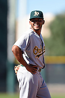 Oakland Athletics third baseman Jose Brizuela (53) during an Instructional League game against the San Francisco Giants on October 13, 2014 at Giants Baseball Complex in Scottsdale, Arizona.  (Mike Janes/Four Seam Images)