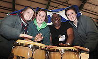 ***NO FEE PIC*** 28/01/2011 Members of Sabor Cubano Danny Lopez with schoolchildren fro Our LAdy's Terenure Sadhbh Walsh, Grainne McMahon, Kate Jester at the Caribean part of the Holiday World Show in the RDS which runs from Friday 28th Jan - Sunday 30th Jan, Dublin. Photo: Gareth Chaney Collins