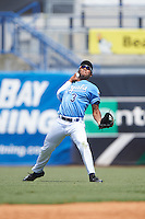 center fielder Steven Mann (3) of Detroit Country Day Upper High School in Farmington Hills, Michigan playing for the Kansas City Royals scout team during the East Coast Pro Showcase on August 3, 2016 at George M. Steinbrenner Field in Tampa, Florida.  (Mike Janes/Four Seam Images)