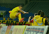 PEREIRA - COLOMBIA - 30-11-2015: Leonardo Castro, jugador del Deportivo Pereira, celebra el gol anotado al Union Magdalena, durante partido por la fecha 6 de los cuadrangulares semifinales del Torneo Aguila II entre Deportivo Pereira y Union Magdalena, jugado en el estadio Hernan Ramirez Villegas de la ciudad de Pereira. / Leonardo Castro, player of Deportivo Pereira, celebrates a scored a goal of Union Magdalena, during a match for the date 6 for the quadrangular semifinals of the Torneo Aguila II between Deportivo Pereira and Union Magdalena, ??played at the Hernan Ramirez Villegas stadium in Pereira city. Photo: VizzorImage / Inti / Cont.