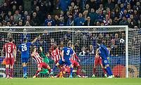 Jamie Vardy of Leicester City  scores his goal during the UEFA Champions League QF 2nd Leg match between Leicester City and Atletico Madrid at the King Power Stadium, Leicester, England on 18 April 2017. Photo by Andy Rowland.