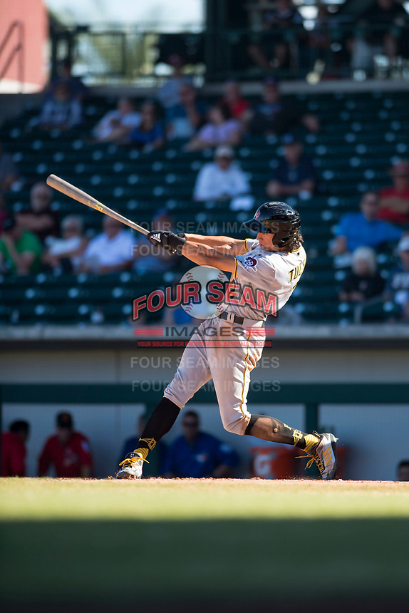 Surprise Saguaros shortstop Cole Tucker (2), of the Pittsburgh Pirates organization, swings at a pitch during an Arizona Fall League game against the Mesa Solar Sox at Sloan Park on November 1, 2018 in Mesa, Arizona. Surprise defeated Mesa 5-4 . (Zachary Lucy/Four Seam Images)