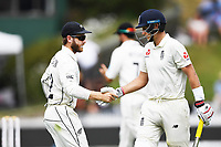 2nd December, Hamilton, New Zealand; England's Joe Root celebrates and is congratulated by Kane Williamson as he heads back to the dressing room on day 4 of the 2nd test cricket match between New Zealand and England  at Seddon Park, Hamilton, New Zealand.