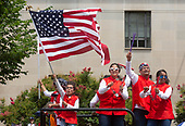 People make their way along the parade route in the 4th of July parade on Constitution Avenue in Washington D.C. on July 4, 2019.<br /> <br /> Credit: Stefani Reynolds / CNP