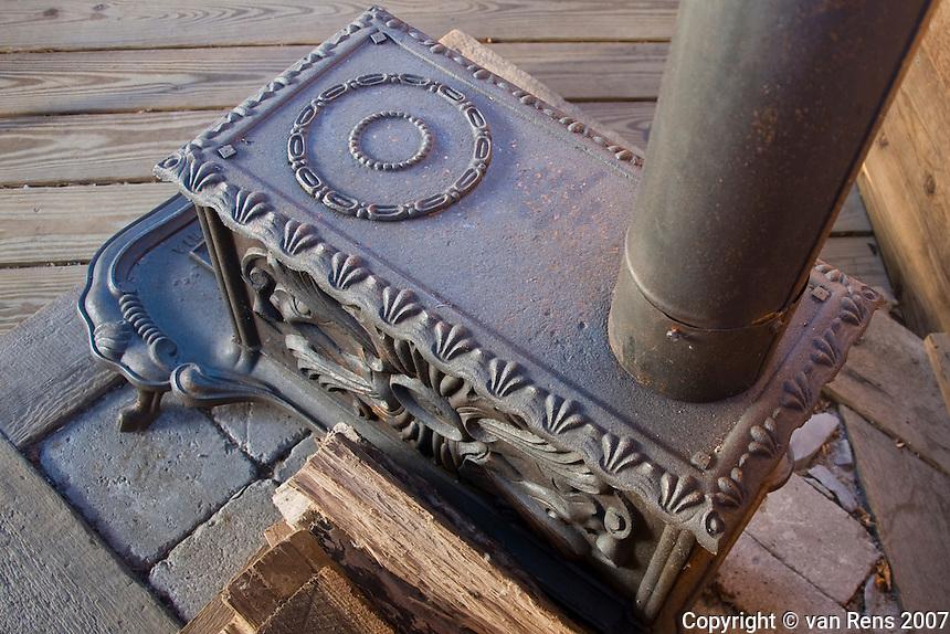 Old cast iron ood burning stone
