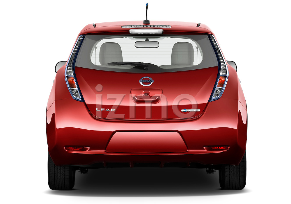 Straight rear view of a 2011 Nissan Leaf SL