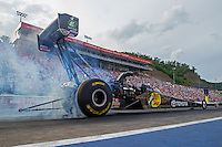 Jun 19, 2015; Bristol, TN, USA; NHRA top fuel driver Shawn Langdon during qualifying for the Thunder Valley Nationals at Bristol Dragway. Mandatory Credit: Mark J. Rebilas-USA TODAY Sports