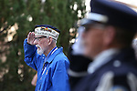 Veteran Charles Sehe says the Pledge of Allegiance at a ceremony at the U.S.S. Nevada Memorial on the Capitol grounds in Carson City, Nev., on Wednesday, Oct. 14, 2015. Sehe served on the U.S.S. Nevada during World War II. <br /> Photo by Cathleen Allison