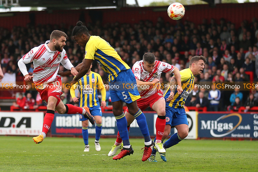 Josh McQuoid of Stevenage with a header on goal during Stevenage vs Accrington Stanley, Sky Bet EFL League 2 Football at the Lamex Stadium on 6th May 2017