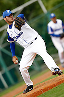 21 June 2011: Quentin Becquey of Team France pitches against UCLA Alumni during UCLA Alumni 5-3 win over France, at the 2011 Prague Baseball Week, in Prague, Czech Republic.