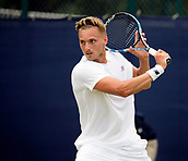 June 13th 2017, Nottingham, England; ATP Aegon Nottingham Open Tennis Tournament day 2;  Lloyd Glasspool of Great Britain who progressed to the full draw from the qualifying rounds, defeats Go Soeda of Japan in two sets