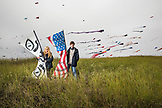 USA, Washington State, Long Beach Peninsula, portrait of kite flyers Amy Doran with her son Connor Doran at the International Kite Festival, Connor performed on Americas Got Talent and uses his flying to ease the symptoms of his epilepsy