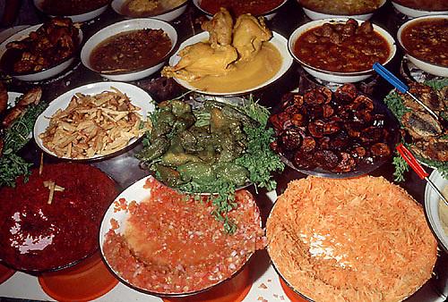 Colorful foods in open market, Marakeesh, Morocco