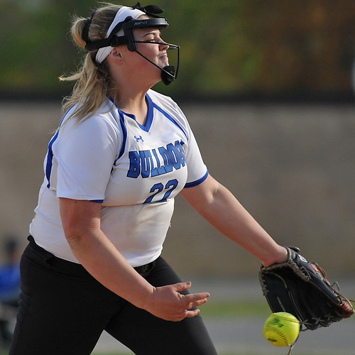 Ava Shorr #22, North Babylon pitcher, delivers to the plate in the top of the seventh inning of a Suffolk County League V varsity softball game against West Islip at North Babylon High School on Wednesday, May 9, 2018. North Babylon won by a score of 4-1.