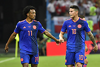 (180624) -- KAZAN, June 24, 2018 -- Colombia s James Rodriguez (R) and Juan Cuadrado are seen during the 2018 FIFA World Cup WM Weltmeisterschaft Fussball Group H match between Poland and Colombia in Kazan, Russia, June 24, 2018. ) (SP)RUSSIA-KAZAN-2018 WORLD CUP-GROUP H-POLAND VS COLOMBIA HexCanling PUBLICATIONxNOTxINxCHN  <br /> Kazan 24-06-2018 Football FIFA World Cup Russia  2018 <br /> Poland - Colombia / Polonia - Colombia <br /> Foto Imago/Insidefoto