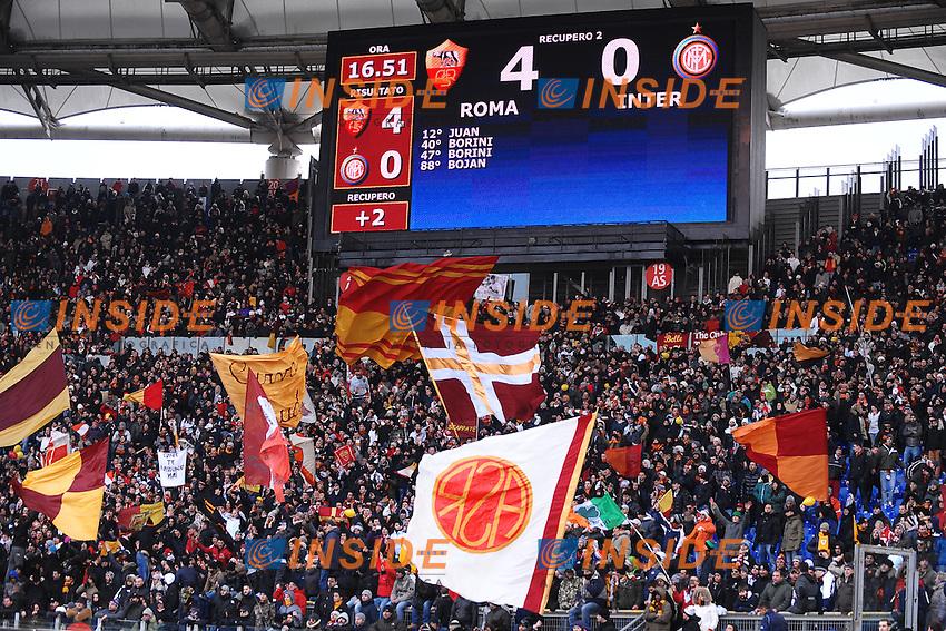 """Tabellone Roma Inter 4-0.Roma 5/2/2012 Stadio """"Olimpico"""".Football Calcio 2011/2012 Serie A.Roma Vs Inter.Foto Insidefoto Andrea Staccioli"""