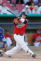 Ji-Man Choi #17 of the High Desert Mavericks bats against the Stockton Ports at Stater Bros. Stadium on April 27, 2013 in Adelanto, California. Stockton defeated High Desert, 17-7. (Larry Goren/Four Seam Images)