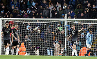 Burnley's Ben Gibson reacts after going 4-0 down <br /> <br /> Photographer Rich Linley/CameraSport<br /> <br /> Emirates FA Cup Fourth Round - Manchester City v Burnley - Saturday 26th January 2019 - The Etihad - Manchester<br />  <br /> World Copyright © 2019 CameraSport. All rights reserved. 43 Linden Ave. Countesthorpe. Leicester. England. LE8 5PG - Tel: +44 (0) 116 277 4147 - admin@camerasport.com - www.camerasport.com