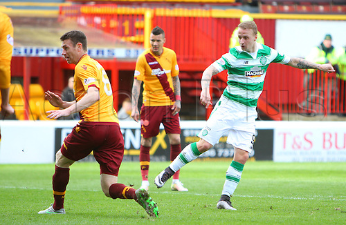 09.04.2016. Fir Park, Motherwell, Scotland. Scottish Football Premiership Motherwell versus Celtic. Leigh Griffiths scores to makes it 2-1 to Celtic
