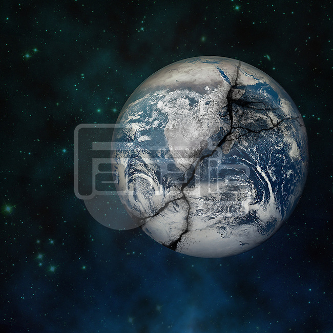 Illustrative image of cracked planet representing global warming