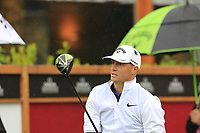 Alex Noren (NOR) tees off the 1st tee during a wet Saturday's Round 3 of the 2017 Omega European Masters held at Golf Club Crans-Sur-Sierre, Crans Montana, Switzerland. 9th September 2017.<br /> Picture: Eoin Clarke | Golffile<br /> <br /> <br /> All photos usage must carry mandatory copyright credit (&copy; Golffile | Eoin Clarke)