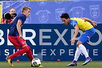 LEEUWARDEN - Voetbal, SC Cambuur - Jong Ajax, Cambuur stadion, seizoen 2017-2018, 18-08-2017,  Jong Ajax speler Dennis Johnsen met SC Cambuur speler Omar El Baad