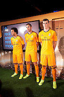 Real Madrid´s Macelo (l), Benzema and Gareth Bale (r) during the official presentation of the Adidas team´s football kit for the 2013-14 Champions League season in Europe tower, Madrid. September 12, 2013. (ALTERPHOTOS/Victor Blanco) /NortePhoto.com