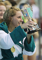 PICTURE BY CHRIS MANGNALL/SWPIX.COM - Water Polo - British Water Polo Championships 2012 - Women's Final, Manchester v London Otters - Manchester Aquatics Centre, Manchester, England - 19/02/12 - Manchester captain Victoria Hawkins lifts the Championship Trophy.