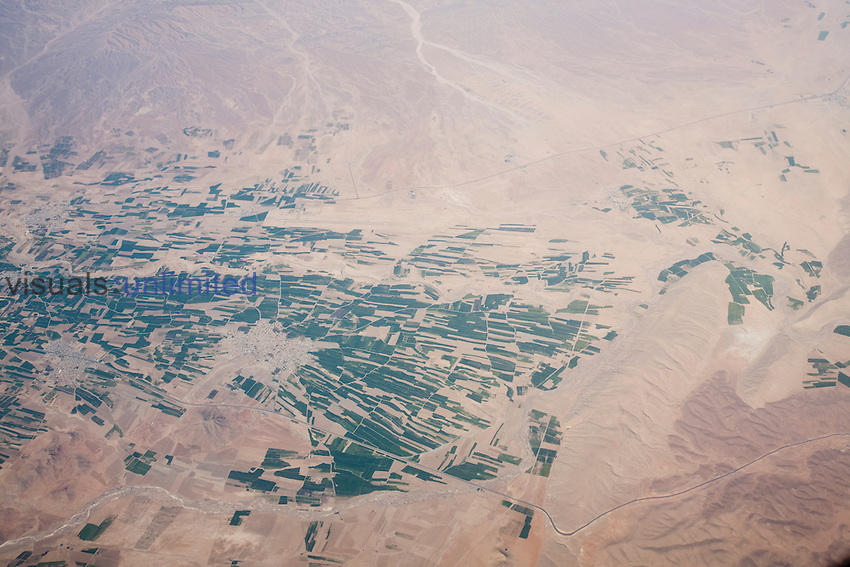 Aerial view of the landscape and irrigated fields of Iran.