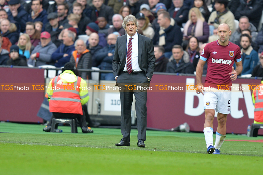 West Ham Manager Manuel Pellegrini  during West Ham United vs Arsenal, Premier League Football at The London Stadium on 12th January 2019