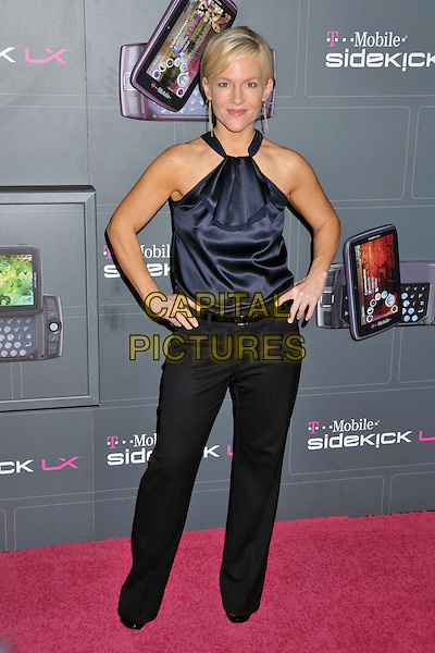RACHAEL HARRIS.T-Mobile Sidekick LX Launch Party held at Paramount Studios, Los Angeles, CA, USA..May 14th, 2009 .full length black trousers blue silk satin halterneck top hands on hips.CAP/ADM/BP.©Byron Purvis/AdMedia/Capital Pictures.