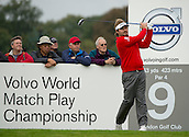 15.10.2014. The London Golf Club, Ash, England. The Volvo World Match Play Golf Championship.  Day 1 group stage matches.  Victor Dubuisson (FRA) on the ninth tee.