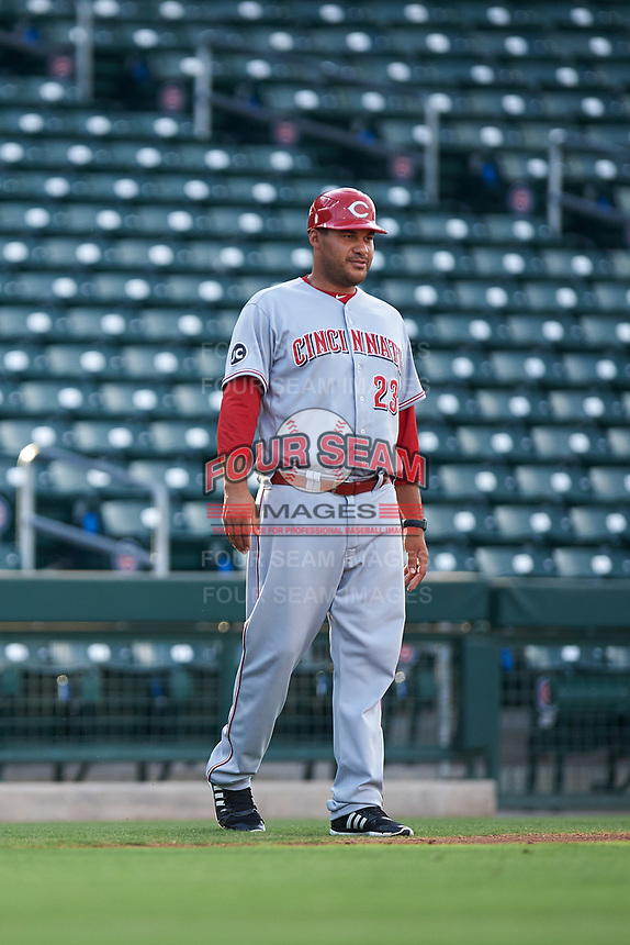 AZL Reds bench coach Donald Lutz (23) during an Arizona League game against the AZL Cubs 2 on July 23, 2019 at Sloan Park in Mesa, Arizona. AZL Cubs 2 defeated the AZL Reds 5-3. (Zachary Lucy/Four Seam Images)