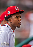 6 October 2017: Washington Nationals outfielder Victor Robles looks out from the dugout during the first game of the NLDS against the Chicago Cubs at Nationals Park in Washington, DC. The Cubs shut out the Nationals 3-0 to take a 1-0 lead in their best of five Postseason series. Mandatory Credit: Ed Wolfstein Photo *** RAW (NEF) Image File Available ***