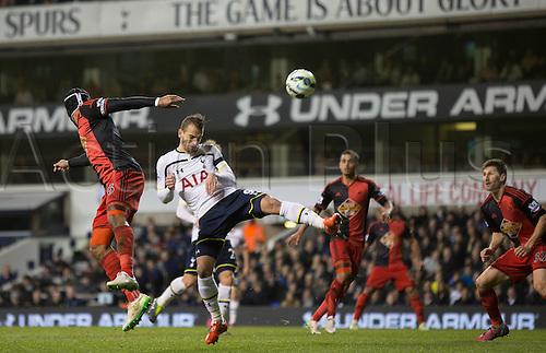 04.03.2015.  London, England. Barclays Premier League. Tottenham Hotspur versus Swansea City. Tottenham Hotspur's Roberto Soldado goes close with the header.