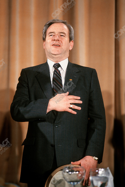 Reverend Jerry Falwell, televangelist and co-founder of the Moral Majority, at the Annual Dinner of the Conservative Politcal Action Conference. Washington, D.C, January 1986.