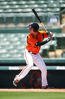 GCL Orioles third baseman Branden Becker (2) at bat during a game against the GCL Twins on August 11, 2016 at the Ed Smith Stadium in Sarasota, Florida.  GCL Twins defeated GCL Orioles 4-3.  (Mike Janes/Four Seam Images)