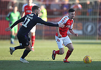Fleetwood Town's Jason Holt battles with Luton Town's Andrew Shinnie<br /> <br /> Photographer Mick Walker/CameraSport<br /> <br /> The EFL Sky Bet League One - Fleetwood Town v Luton Town - Saturday 16th February 2019 - Highbury Stadium - Fleetwood<br /> <br /> World Copyright © 2019 CameraSport. All rights reserved. 43 Linden Ave. Countesthorpe. Leicester. England. LE8 5PG - Tel: +44 (0) 116 277 4147 - admin@camerasport.com - www.camerasport.com